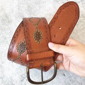 Fossil Leather Tooled Embellished Boho Wide Belt